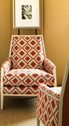 Savvy/Paprika part of the new JOE attitude for Sunbrella. The Bergen Chair. Joe Ruggiero designs.