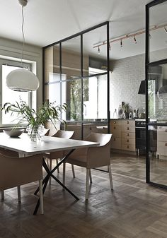 Partition in glass and black iron dividing dining room and kitchen