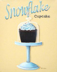 Image detail for -Snowflake Cupcake Painting by Catherine Holman - Snowflake Cupcake ...