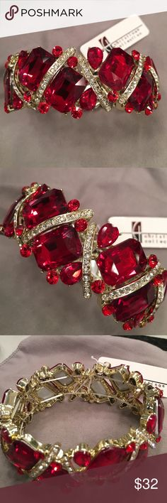 """Bracelet red stone and clear stone stretch Bracelet red stone and clear stone stretch.  Never been worn.  Stretch. Fits a little loose.  Approximately 10"""" around the outside if bracelet Christina Collection Jewelry Bracelets"""