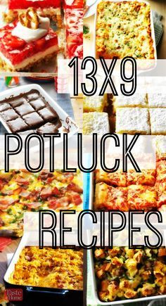 13x9 Potluck Recipes from Taste of Home |  Great for serving at parties, holiday brunches and other celebrations, it's easy to feed a crowd with these potluck appetizers, side dishes, breakfast casseroles and dessert recipes made in a 13x9 pan.
