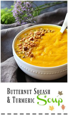 There is nothing like a delicious and warming bowl of butternut squash soup to comfort and nourish the body. This family favorite recipe is simple to make and packed full with nourishing ingredients to get your body ready for the cooler season. Turmeric Soup, Turmeric Recipes, Fresh Turmeric, Soup Recipes, Vegetarian Recipes, Cooking Recipes, Healthy Recipes, Healthy Food, Healthy Soups