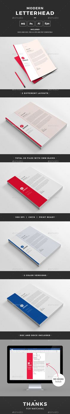 Buy Letterhead by design-park on GraphicRiver. Modern Letterhead Template for all kind of business. This Elegant Letterhead will help you to promote your business. Stationery Printing, Stationery Templates, Stationery Items, Print Templates, Business Templates, Stationery Design, Invoice Design Template, Letterhead Design, Letterhead Template