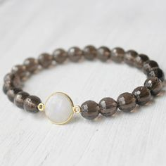 Smoky Quartz Moonstone Healing Bracelet(Gold Vermeil)