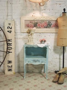 Love this table! Painted Cottage Chic Shabby Aqua Romantic French Night Table NT435