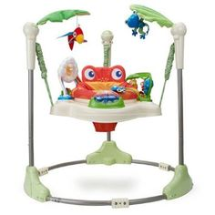 Amazon.com: Fisher-Price Rainforest Jumperoo    This was actually loaned to us. At first I was against jumperoos as I'd read some health issues with them, but our kids LOVE LOVE LOVE this thing. I can't imagine not having it.
