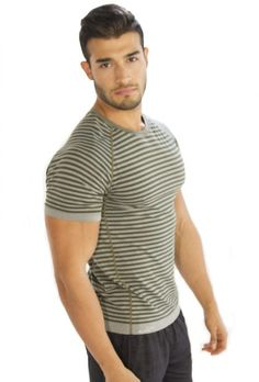 Men's #Striped Grey #Half #Sleeve #T-Shirt