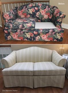 A canvas slipcover woven in neutral stripes gives this old love seat an instant style boost.