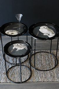 Set of Three Painted Owl Side Tables