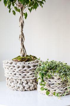 Arm Knit Basket Pattern by Anne Weil of Flax & Twine