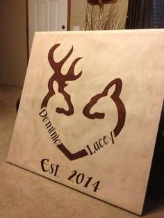 Deer heart couples painting on Etsy, $65.00