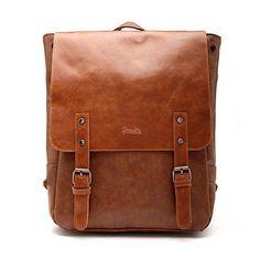 Good&god Pu Crazy Horse Leather-Like Vintage Women's Backpack School Bag…