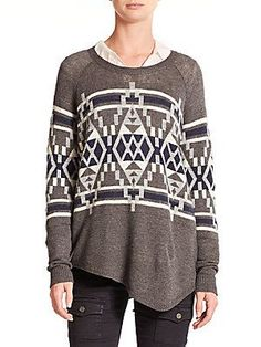 Joie  Brenda Printed Asymmetrical Sweater Was $298.00 Now $178.80