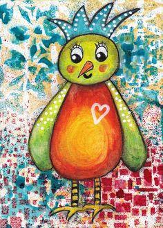 Janice - an original mixed media painting of a shy little bird - 5 x 7.. $20.00, via Etsy.