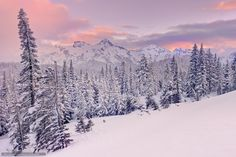 ***Snowy mountains sunset (Tatoosh Range, Mt Rainier National Park, Washington) by Kevin McNeal