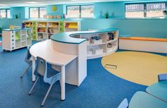 Lidget Green Primary School | Demco Interiors - Inspiring Library Design- I love the calming blue and light!