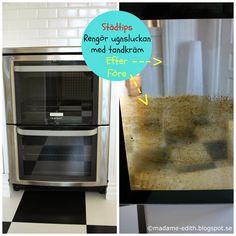 Ja, nu får jag skämmas ihjäl men det blir ju ingen före och efterbild om jag inte visar er hur smutsig ugnsluckan var från början. Så här... Bra Hacks, Home Management, Top Freezer Refrigerator, Bra Tips, Good To Know, Cleaning Hacks, Life Hacks, Kitchen Appliances, Create