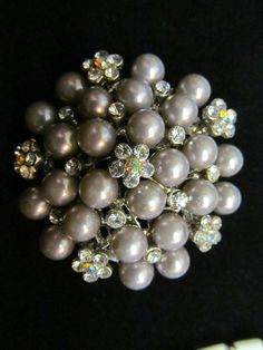 Warm Gray Pearls and Rhinestone Brooch at Tons of Treasures in Laguna Niguel ~ Like us on Facebook!  https://www.facebook.com/pages/Tons-of-Treasures/112400565564963