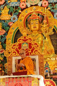 hhdl and guru rinpoche statue