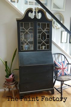Antique Secretary painted with Graphite and French Linen Chalk Paint® and dark wax. By Diane @ ThePaintFactory