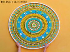 I have hanging on the wall this mandala with a hula hoop <3