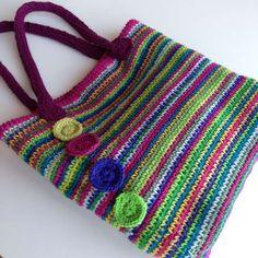 Rainbow crochet tote Stylecraft rosette position