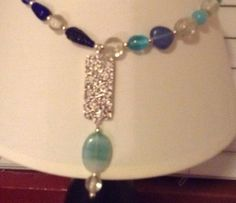 Chunky+Blue+and+Clear+Beaded+Necklace+with+by+TarasExpressions,+$30.00