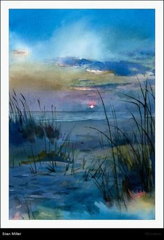 42 Watercolor Paintings By American Artist Stan Miller Watercolor Landscape, Landscape Art, Landscape Paintings, Watercolor Paintings, Watercolours, Watercolor Pictures, Pastel Art, Watercolor Techniques, Beach Art