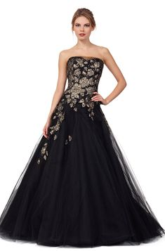 Style 4136 - Liancarlo - Hand-beaded lame embroidered tulle strapless ball gown in Black/Gold.