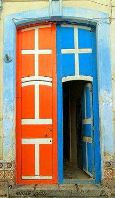 Blue & orange doors in Havana, Cuba