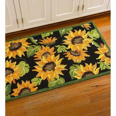 Refresh any space with Plow & Hearth sunflower indoor/outdoor accent rug. It adds a warm welcome to the front door, porch, mudroom or kitchen. Golden sunflowers and green leaves pop against a black ba Kitchen Mat, Kitchen Shelves, Kitchen Layout, Home Decor Kitchen, Kitchen Ideas, Country Kitchen, Kitchen Inspiration, Cabinet Inspiration, Kitchen Cabinets