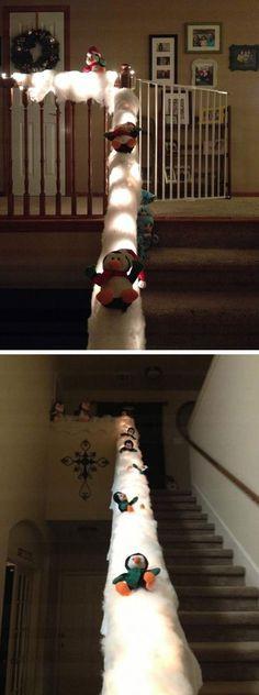 Sliding Penguins on Banister with Lights   30+ DIY Christmas Crafts for Kids to…