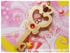 SALE READY to SHIP Sailor Moon Chibiusa Crystal Time Key Inspired Gold Acrylic Necklace for Mahou Kei, Magical Girl Fashion. $22.00, via Etsy.