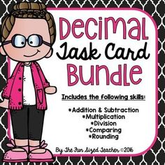 Decimal Operations Task Cards - Over 200 task cards to practice addition, subtraction, multiplication, division, comparing and rounding decimals!