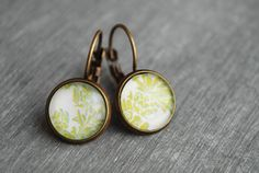 Paeonia   Leaves Cabochon Woodland Earrings // rustic by picturing, €10.50