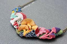 PetitPlat Miniatures by Stephanie Kilgast: About Charms - Mushroom Necklace and more Coral Necklaces. Polymer Clay Jewelry