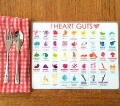 Get to know your body with this awesome placemat of 42 of your favorite guts and glands. Doubles as a poster! Each body bit has a brief description of what it i