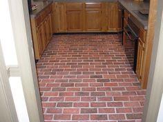 Traditional Antique brick tile kitchen floor, Marietta color mix.