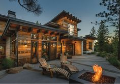 "#contemporary mountain style home - seems like an oxymoron but it seems to work. This Truckee family's prized ""outdoor room""--their nickname for the patio--lets them warm themselves under the sun or by the custom fire pit..."
