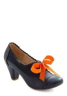 Notch Your Step Heel in Navy by Chelsea Crew - Blue, Orange, Solid, Scallops, Mid, Lace Up, Work, Vintage Inspired, Colorblocking, Fall, Variation, 60s, Leather