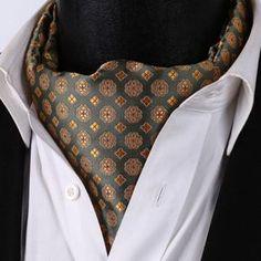 RF325GS-Green-Yellow-Floral-Men-Silk-Cravat-Scarves-Ascot-Tie-Handkerchief-Set