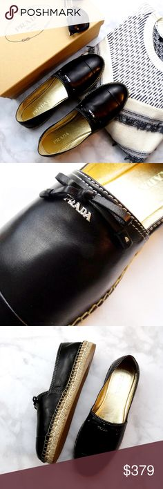 """Black Prada Bow Espadrilles 39.5/9 Details: * Size 39.5 / 9 * Insole measures 9 15/16"""" * Soft black leather * Tiny bow detail * Silver hardware * Brand new in box  10011601 Prada Shoes Espadrilles"""