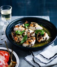 Fast chicken roasted with wine, basil and capers recipe :: Gourmet Traveller - year-round, spring, summer Duck Recipes, Gourmet Recipes, Cooking Recipes, Healthy Recipes, What's Cooking, Cooking Ideas, Food Ideas, Roast Chicken Recipes, Roasted Chicken