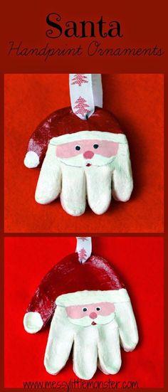 Messy Little Monster: How to make a Salt Dough Santa Handprint Ornament- kids Christmas Craft