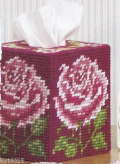 Summer Roses Tissue Box Cover Pattern Only Plastic Canvas Pattern | eBay