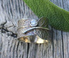 Sage leaf ring sterling silver cubic zirconia door joannerowan, $109.00