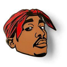 "- Tupac Shakur 1"" Hard Enamel Lapel Pin - Pin art by Old Dirty Dermot - Limited edition - Ships worldwide"