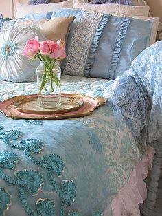 Bedroom, bedding, interior, blue, aqua, turquoise