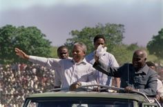 Nelson Mandela 1918-2013. With Kenneth Kaunda, 3rd March 1990 in Lusaka, seat of the exiled ANC.