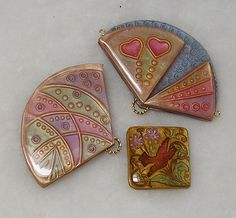 Polymer Clay Cloisonne Fan Pendants by auntgriz, via Flickr, using the cloisonne technique in Donna Kato's book to make these.